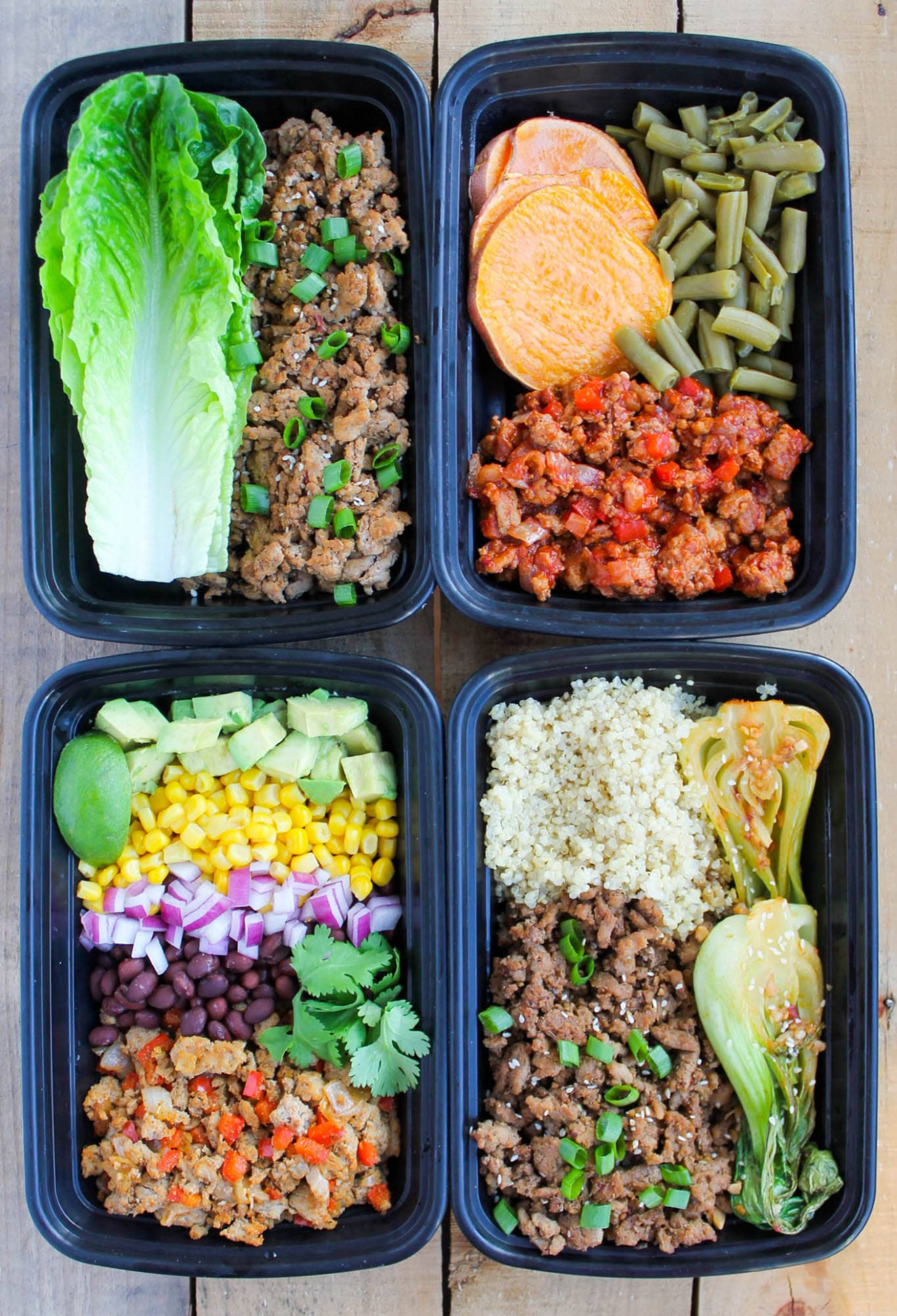 Easy Ground Turkey Meal Prep Bowls: 4 Ways - Smile Sandwich - Healthy Recipes To Meal Prep