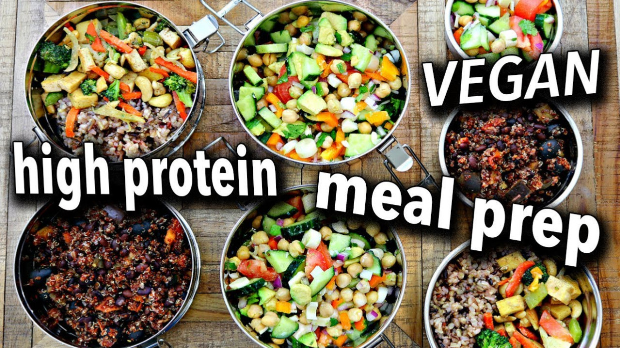 EASY HIGH PROTEIN VEGAN MEAL PREP - food recipes high in protein