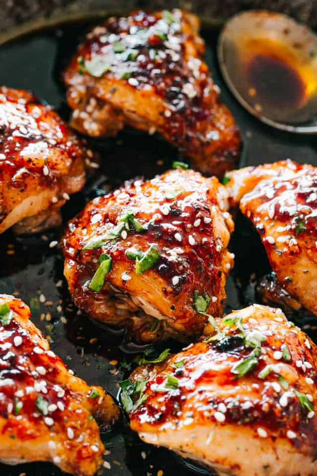 Easy Instant Pot Sticky Chicken Thighs Recipe | Diethood - Recipes Instant Pot Chicken Thighs