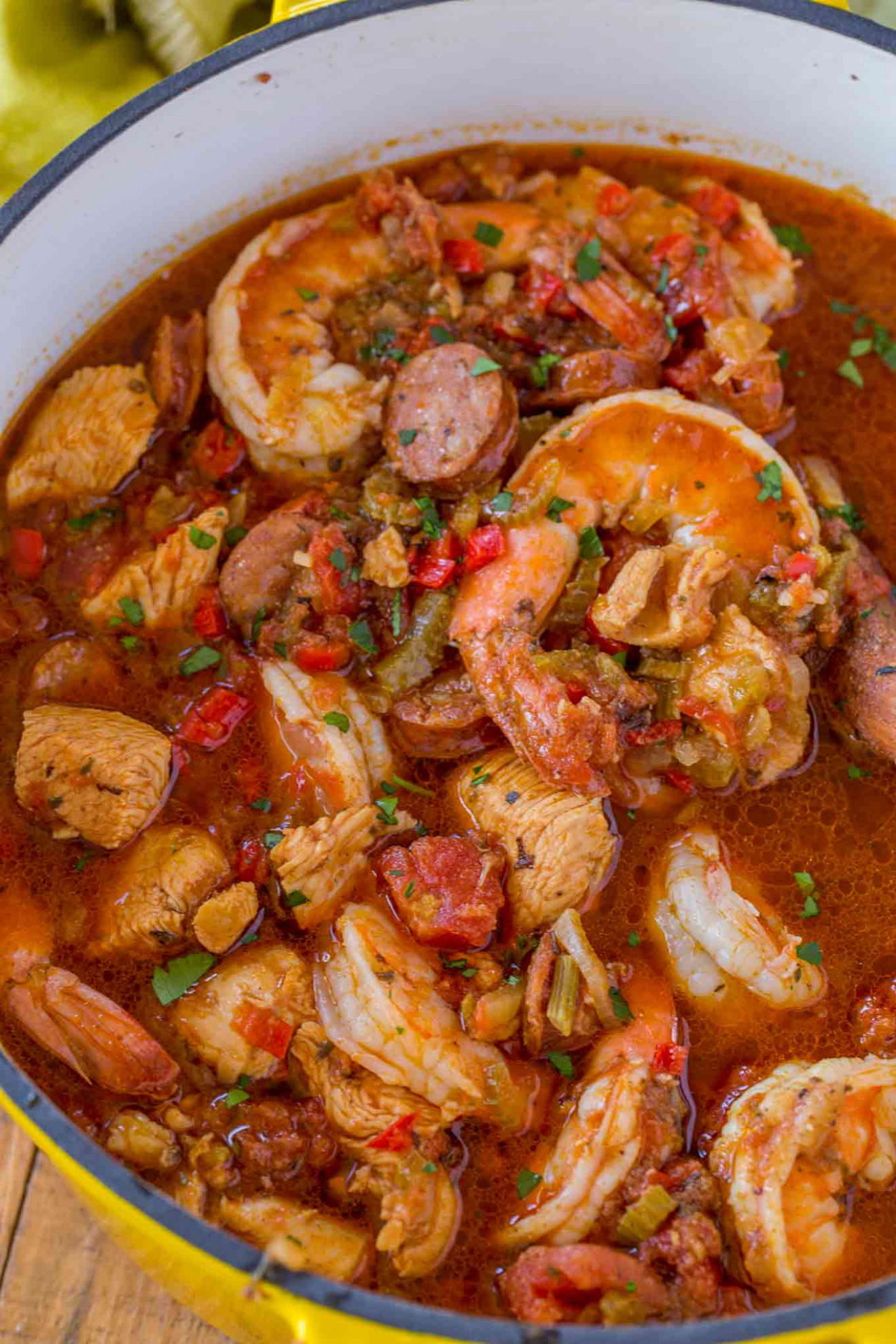 Easy Jambalaya Recipe (Chicken, Shrimp and Andouille Sausage) - recipes jambalaya dinner