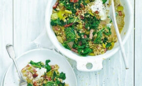 Easy leek and kale pearl barley with crispy lardons ...