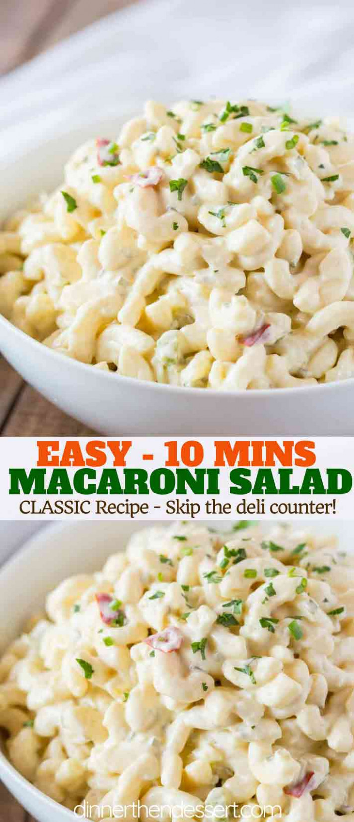 Easy Macaroni Salad - Dinner, then Dessert - dinner recipes you can make the night before