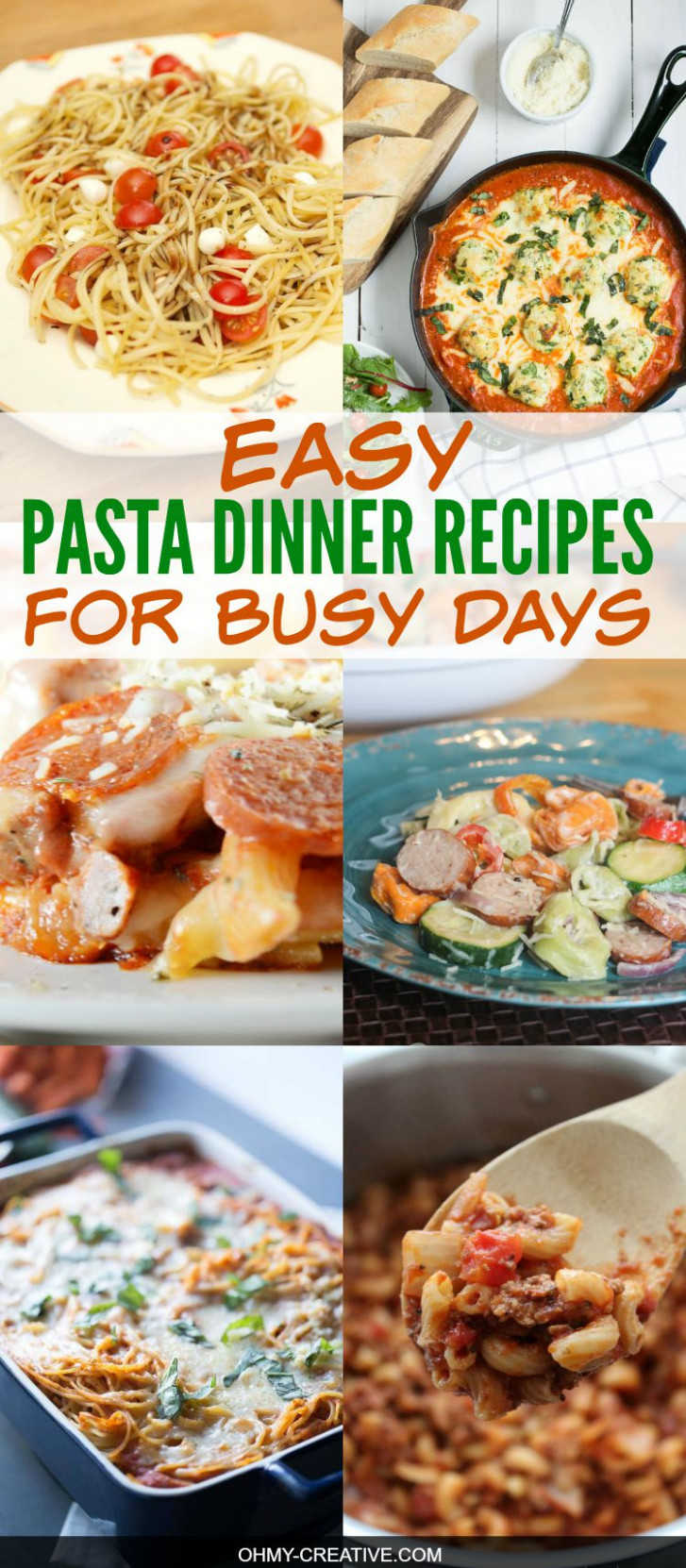 Easy Pasta Dinner Recipes - Oh My Creative - recipes dinner pasta