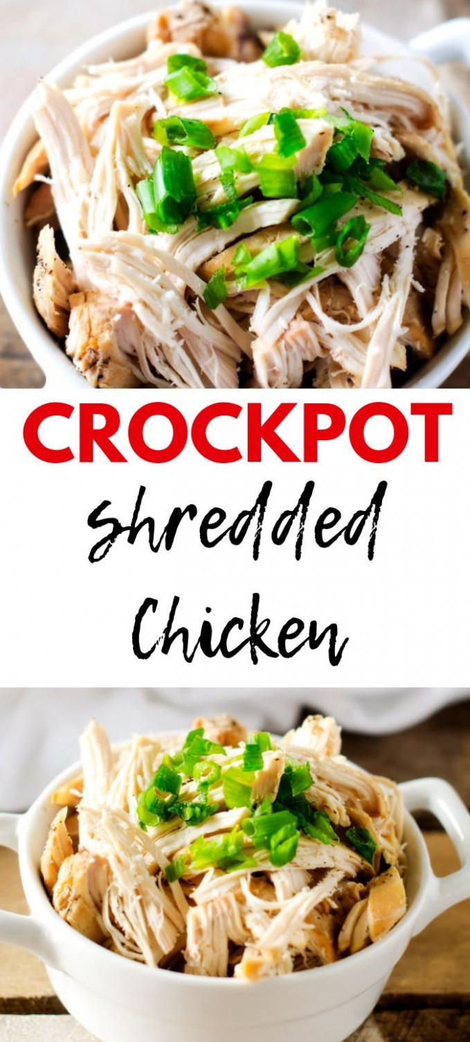 Easy Slow Cooker Shredded Chicken - healthy chicken recipes in slow cooker