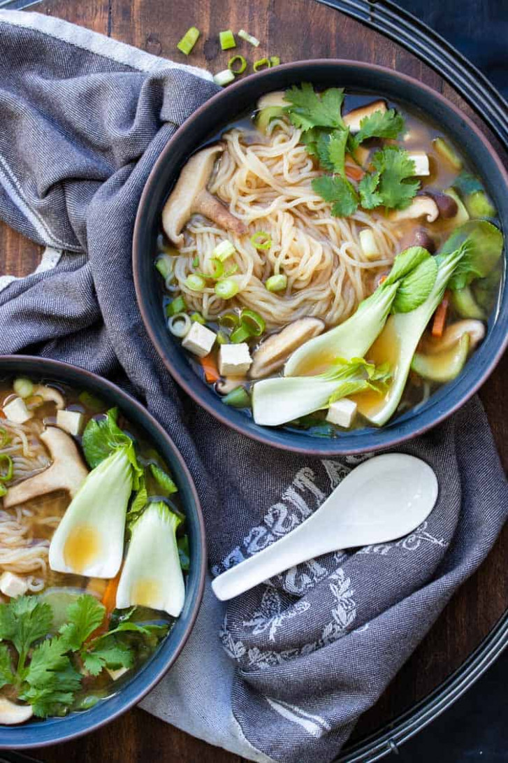 Easy Vegan Miso Soup with Noodles and Vegetables - recipe vegetarian rice noodles