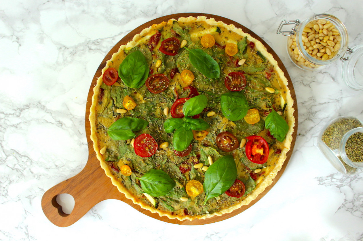 Easy Vegan Quiche (Veggie Tart) without Tofu - recipes vegetarian tarts