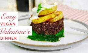 Easy Vegan Valentine's Day Dinner – Red Wine Quinoa On Wilted Spinach, With  Potatoes And Tahini ..