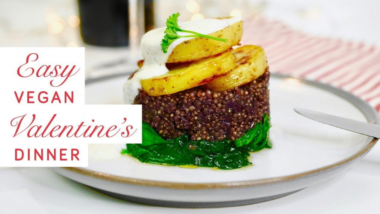 Easy Vegan Valentine's Day Dinner - Red Wine Quinoa On Wilted Spinach, With  Potatoes And Tahini ..