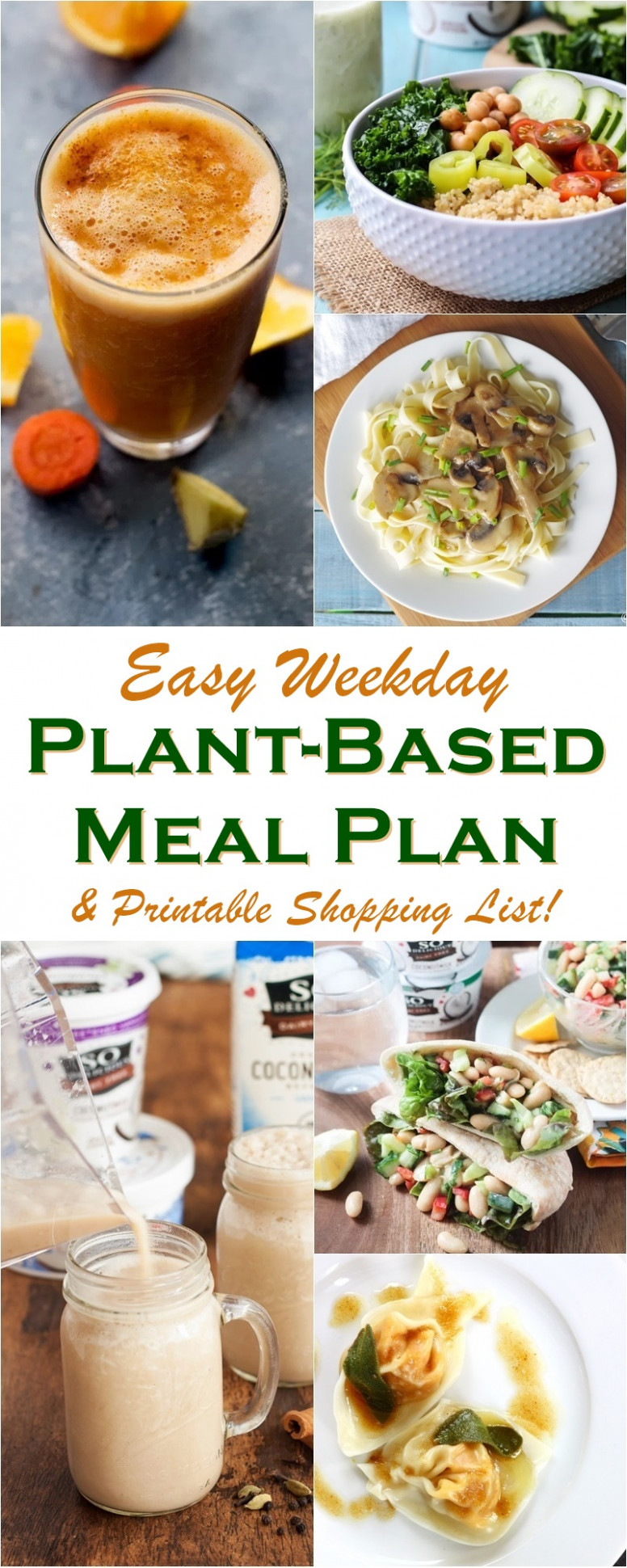 Easy Weekday Plant-Based Meal Plan + Shopping List - dinner recipes dairy and gluten free