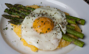 Eggs and Asparagus over Grits