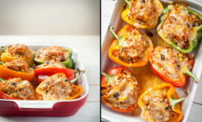 Enchilada Stuffed Peppers With Homemade Red Chili Sauce – Recipes Vegetarian Mexican Food