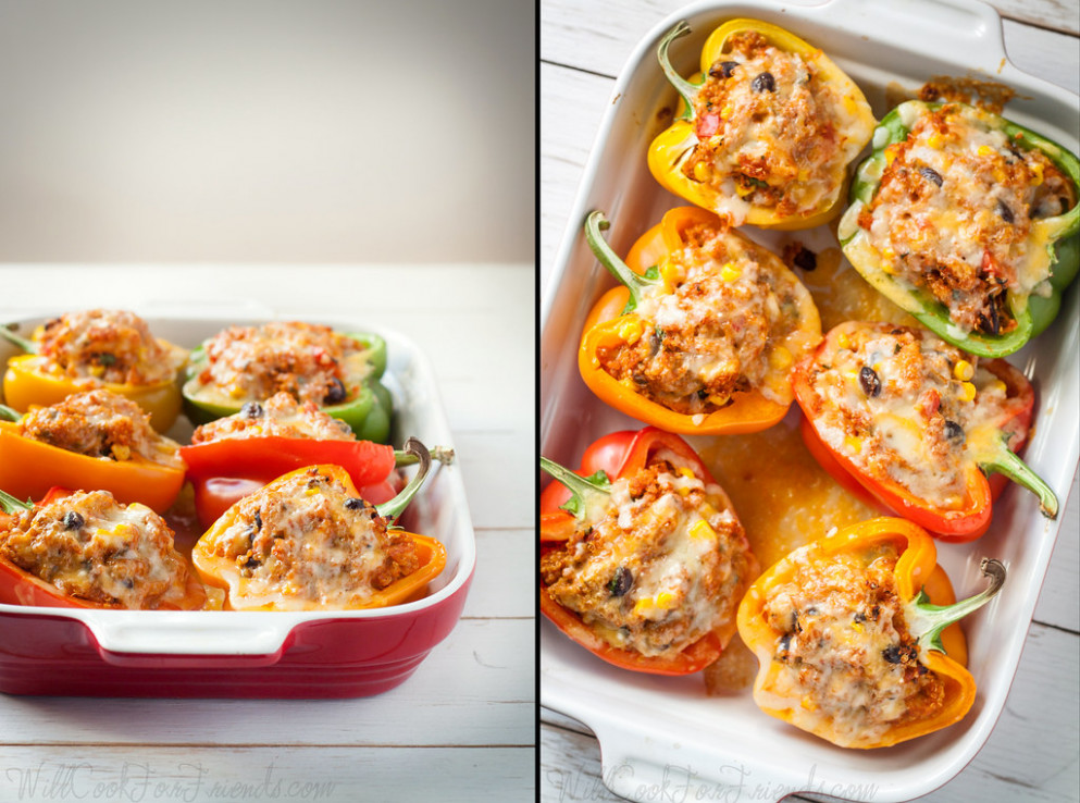 Enchilada Stuffed Peppers with Homemade Red Chili Sauce - recipes vegetarian mexican food