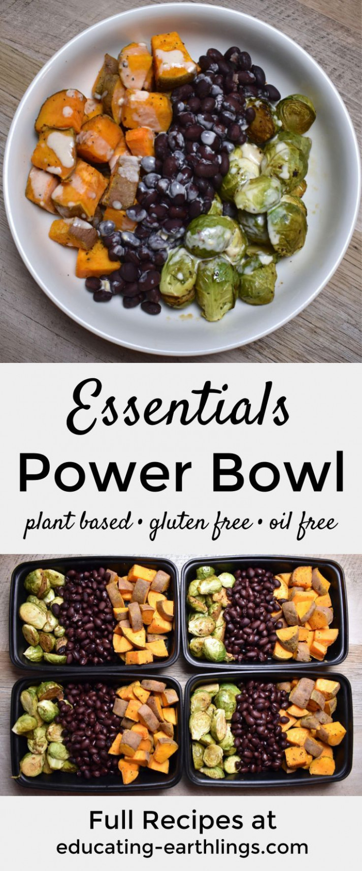 Essentials Power Bowl w/ Tahini Lime Drizzle - recipes vegetarian meal prep