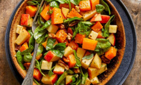 Fall Chopped Salad With Spinach, Butternut Squash, Apples & Cheddar – Vegetarian Recipes Autumn
