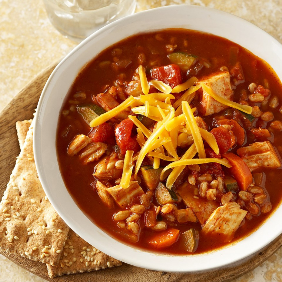 Farro and Vegetable Chicken Chili Recipe - EatingWell - diabetic recipes vegetarian