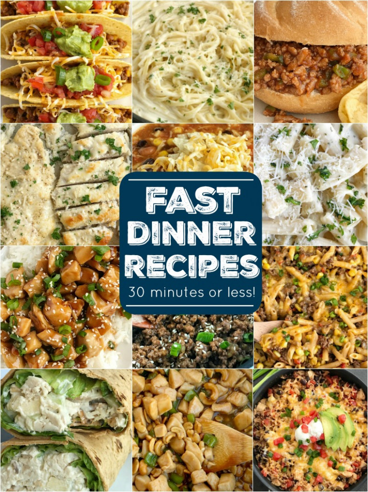 Fast Dinner Recipes 13 minutes or less - Together as Family - recipes list for dinner