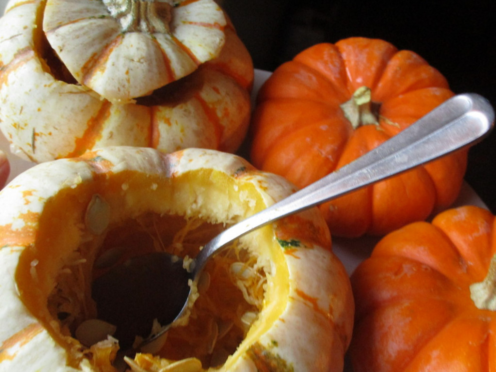 Festive Fall Dinner, Stuffed Baby Pumpkins, Removing Seeds - good easy recipes dinner