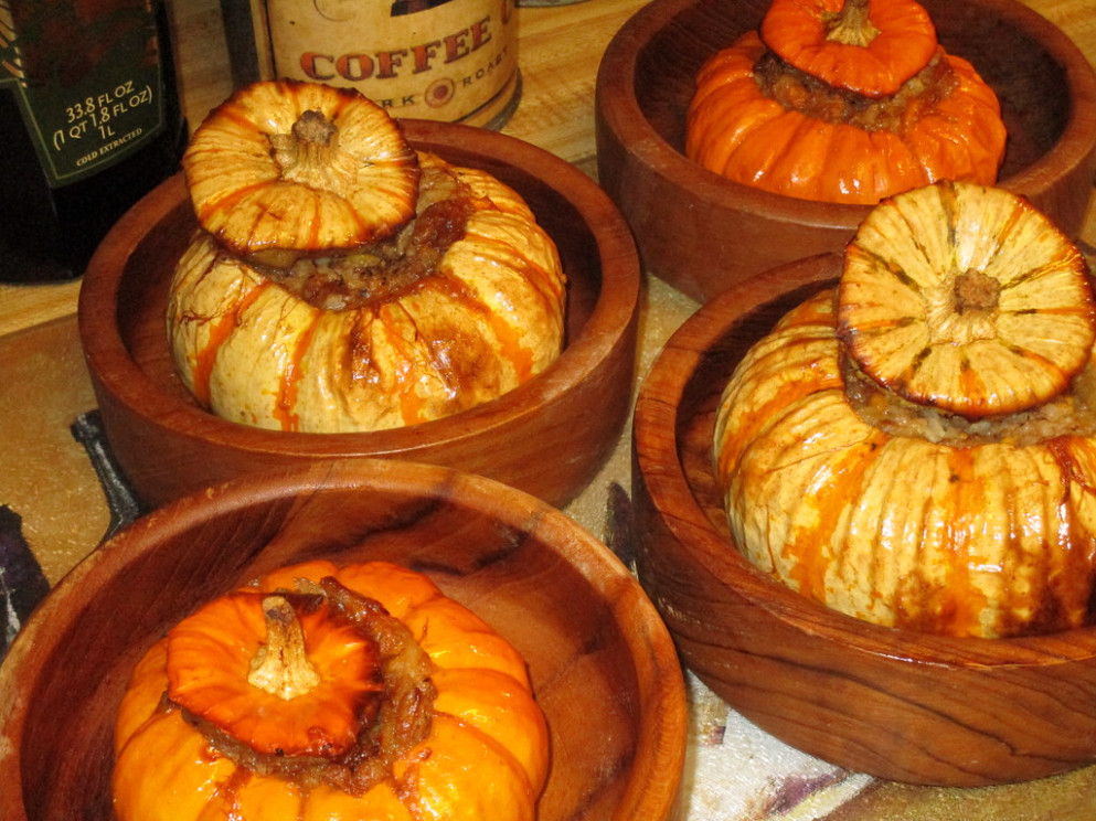 Festive Fall Dinner, Stuffed Baby Pumpkins with Sausage, Cheese, Walnuts, & Rice - food recipes pumpkin