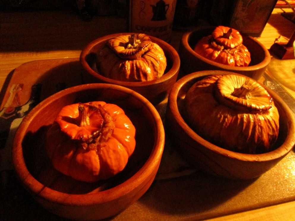 Festive Fall Dinner, Stuffed Baby Pumpkins with Sausage, Cheese, Walnuts, & Rice - good easy recipes dinner