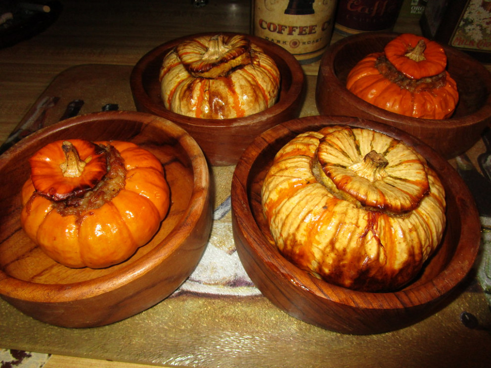 Festive Fall Dinner, Stuffed Baby Pumpkins with Sausage, Cheese, Walnuts, & Rice - recipes using baby food
