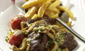 Fillet Steak With Onion, Mushroom And Cream Sauce With ..