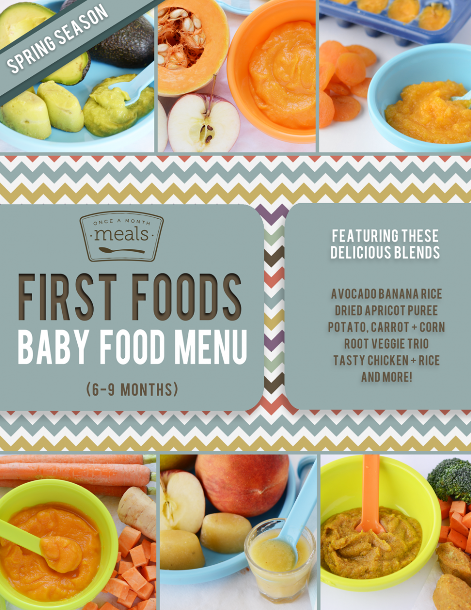 First Foods 6-9+ Months Spring Baby Food Menu | Once A ..