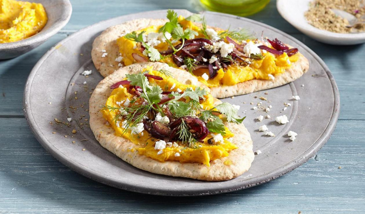 Flatbread with Pumpkin Hummus, Za'atar and Onion Confit - food zaatar recipes