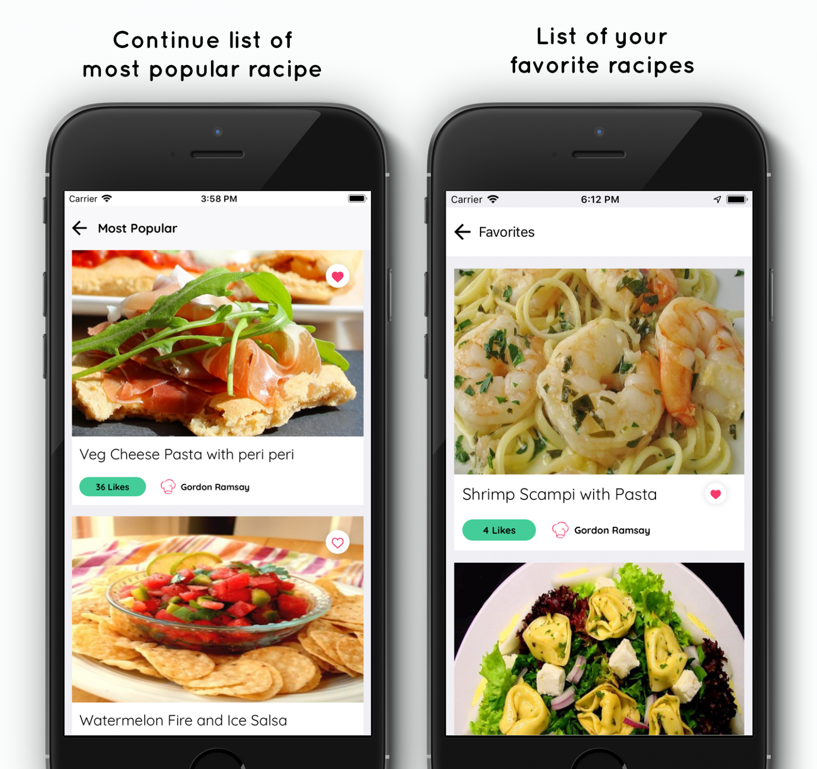 Food Recipe iPhone app with add recipe by chef - SWIFT 14 - food recipes app download