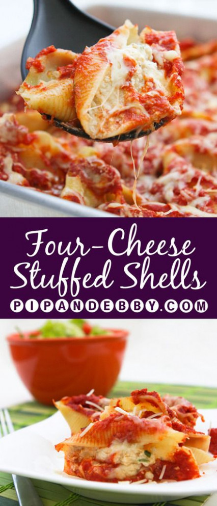 Four Cheese Stuffed Shells - four cheese stuffed into ..