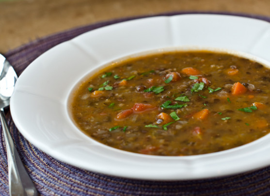 French Lentil and Vegetable Soup with Bacon - Once Upon a Chef - recipes green lentils vegetarian