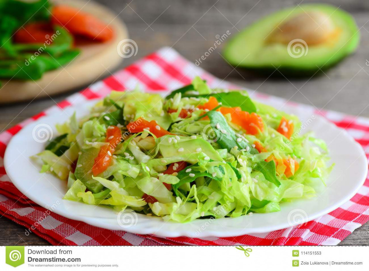 Fresh сabbage Salad With Avocado. Homemade Cabbage Salad ..