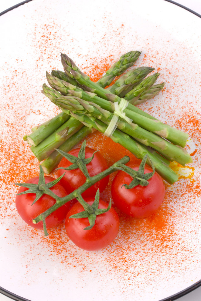 Fresh asparagus and tomatoes - yummy vegan recipes dinner