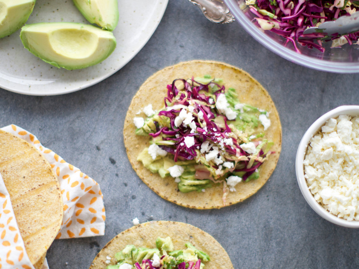 Fresh Cabbage and Avocado Tacos with Queso Fresco - queso fresco recipes food network