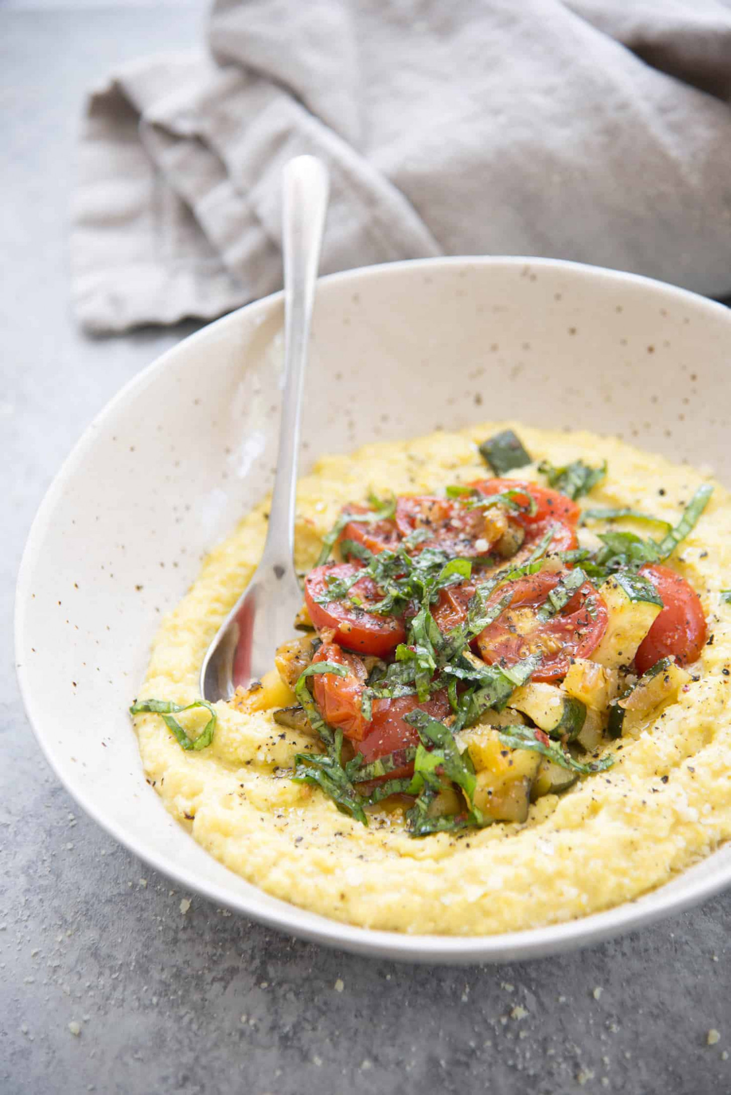 Fresh Corn Polenta With Farm Vegetables And Spicy Basil Oil - Polenta Recipes Vegetarian