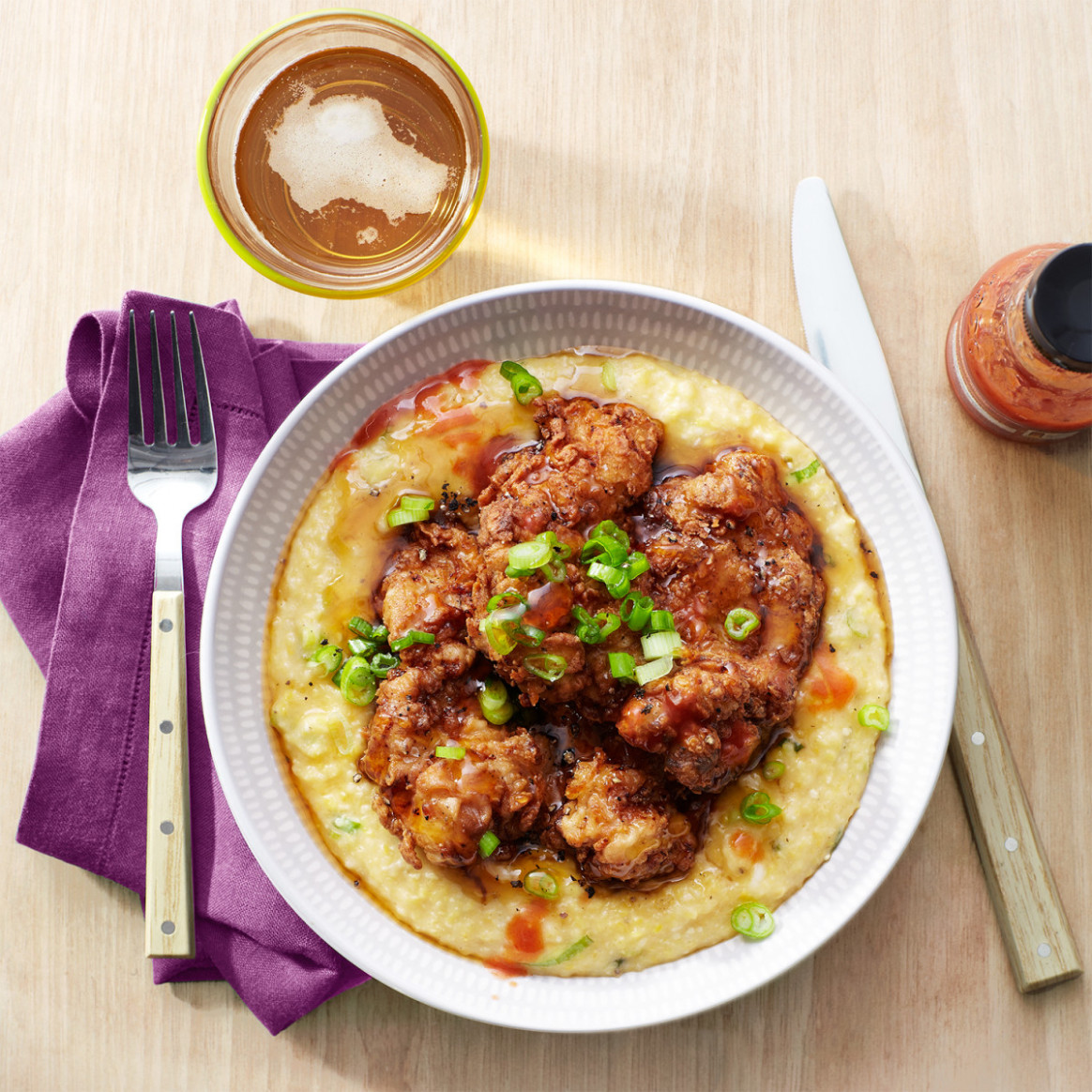 Fried Chicken Thighs & Cheesy Grits With Green Onions ..