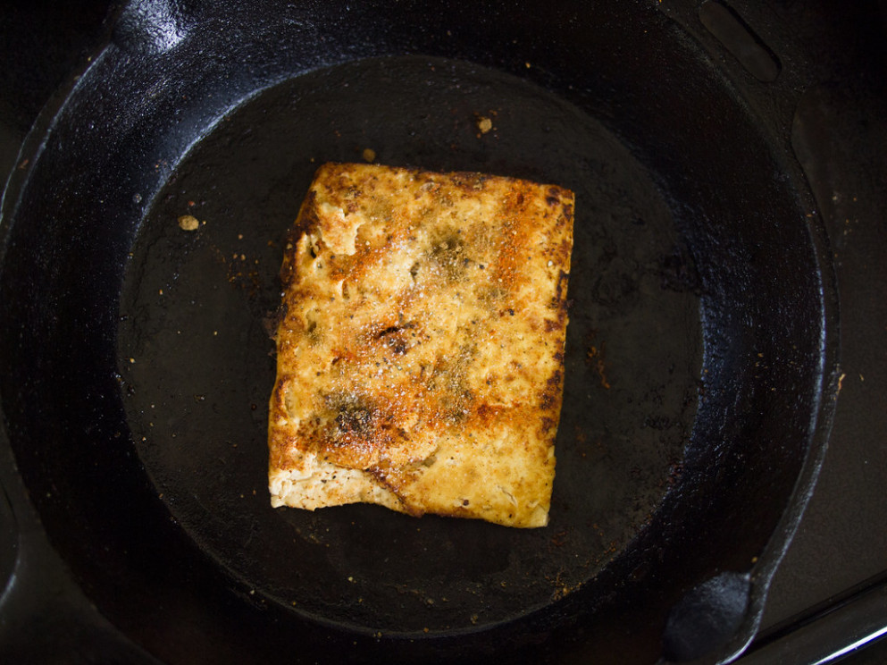 Fried tofu strips (03): pan-frying - recipes vegetarian garlic