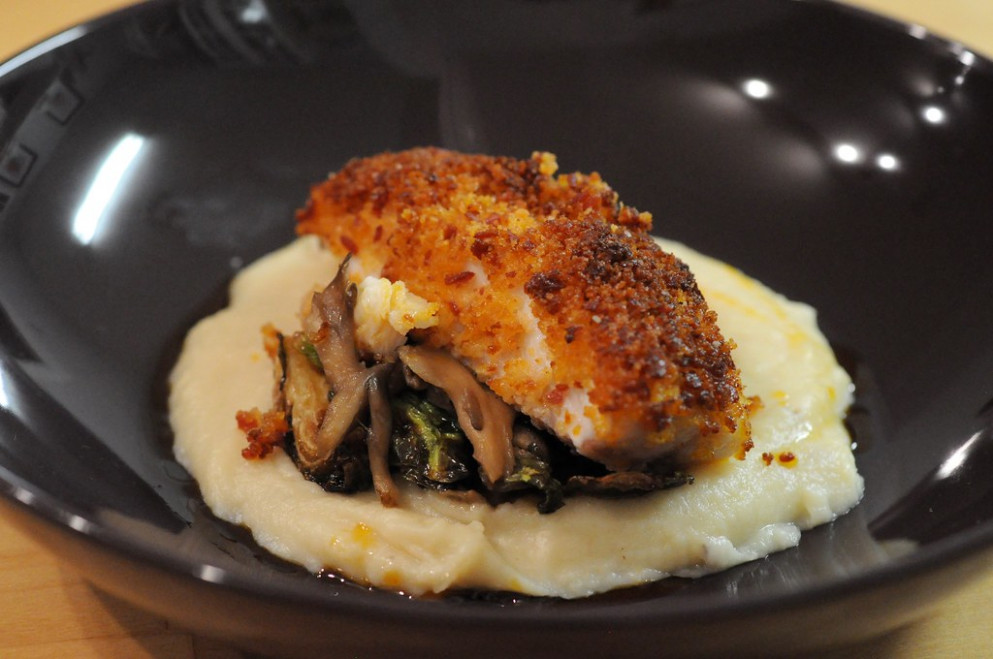 From the sea: Salumi-crusted snapper, smoked mushrooms, parsnip puree, caramelized Brussels sprouts and pepperoni oil - recipes of eggs for dinner