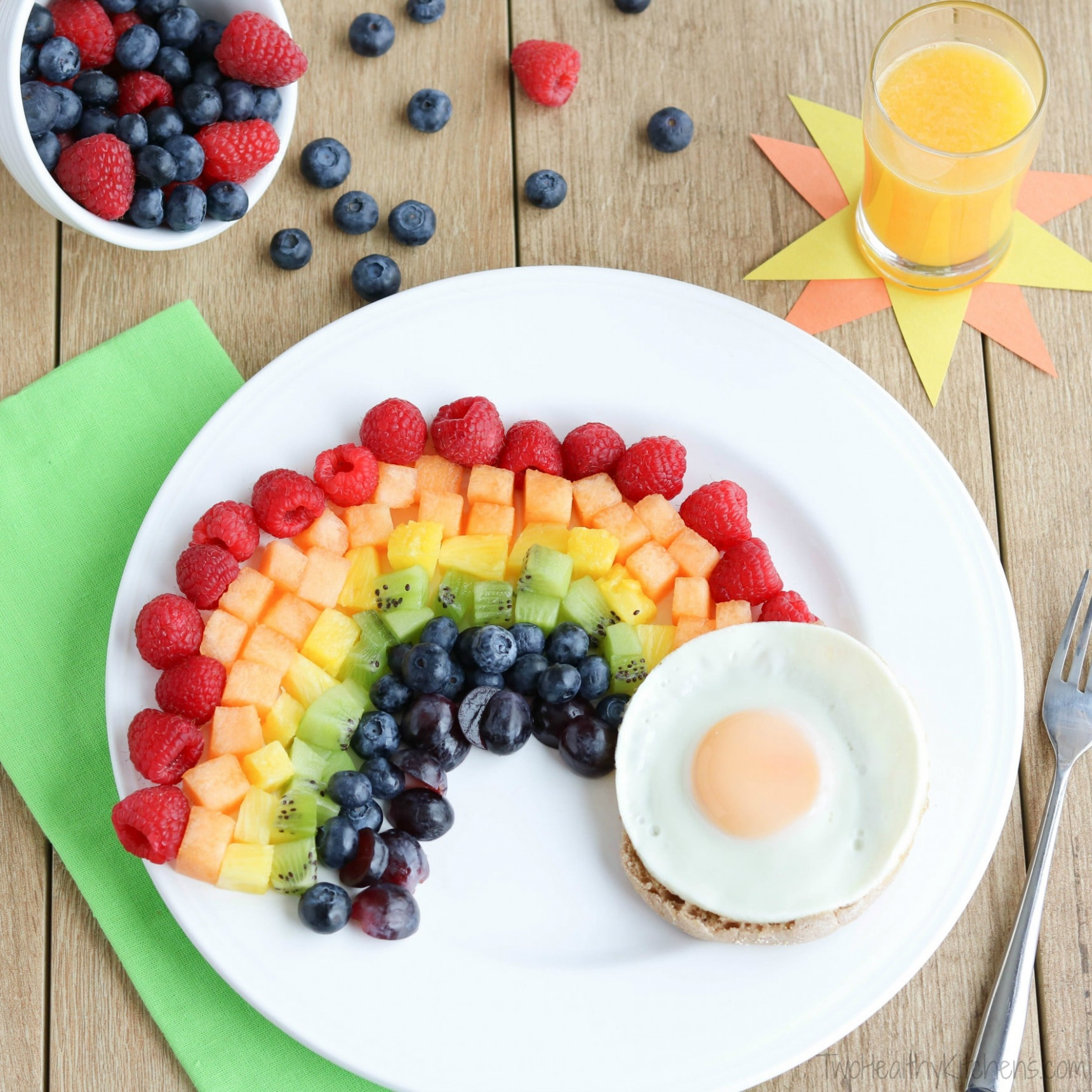 Fruit Rainbow With A Pot Of Gold (Fun Breakfast Idea For Kids!) - Recipes For Healthy Breakfast