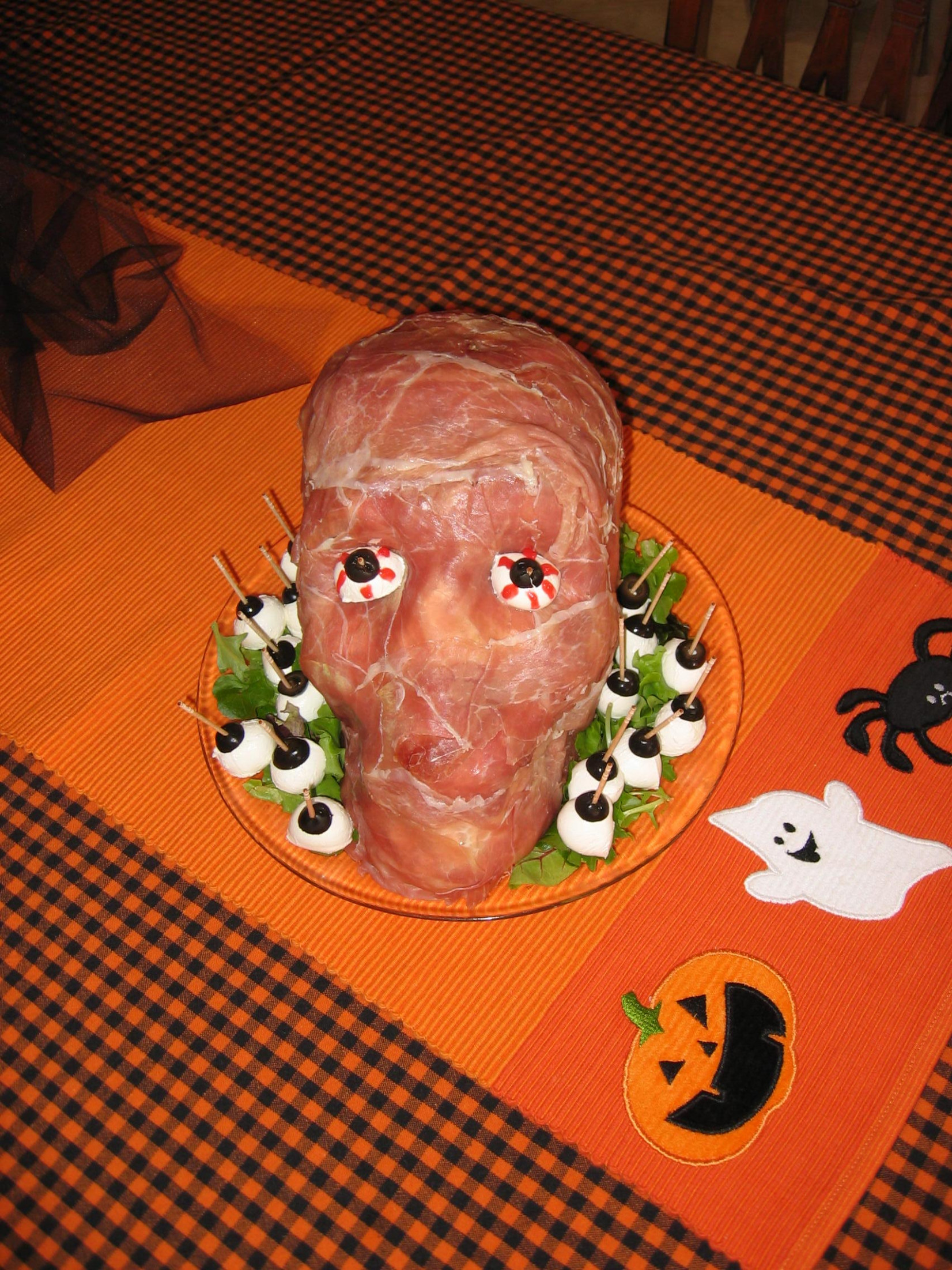 Fun Halloween Party Food Recipes – Prosciutto Ham Head ..