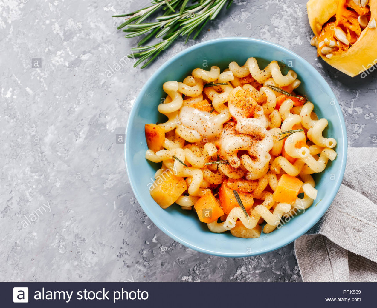 Fusilli pasta with pumpkin, rosemary and brie cheese. Idea ..