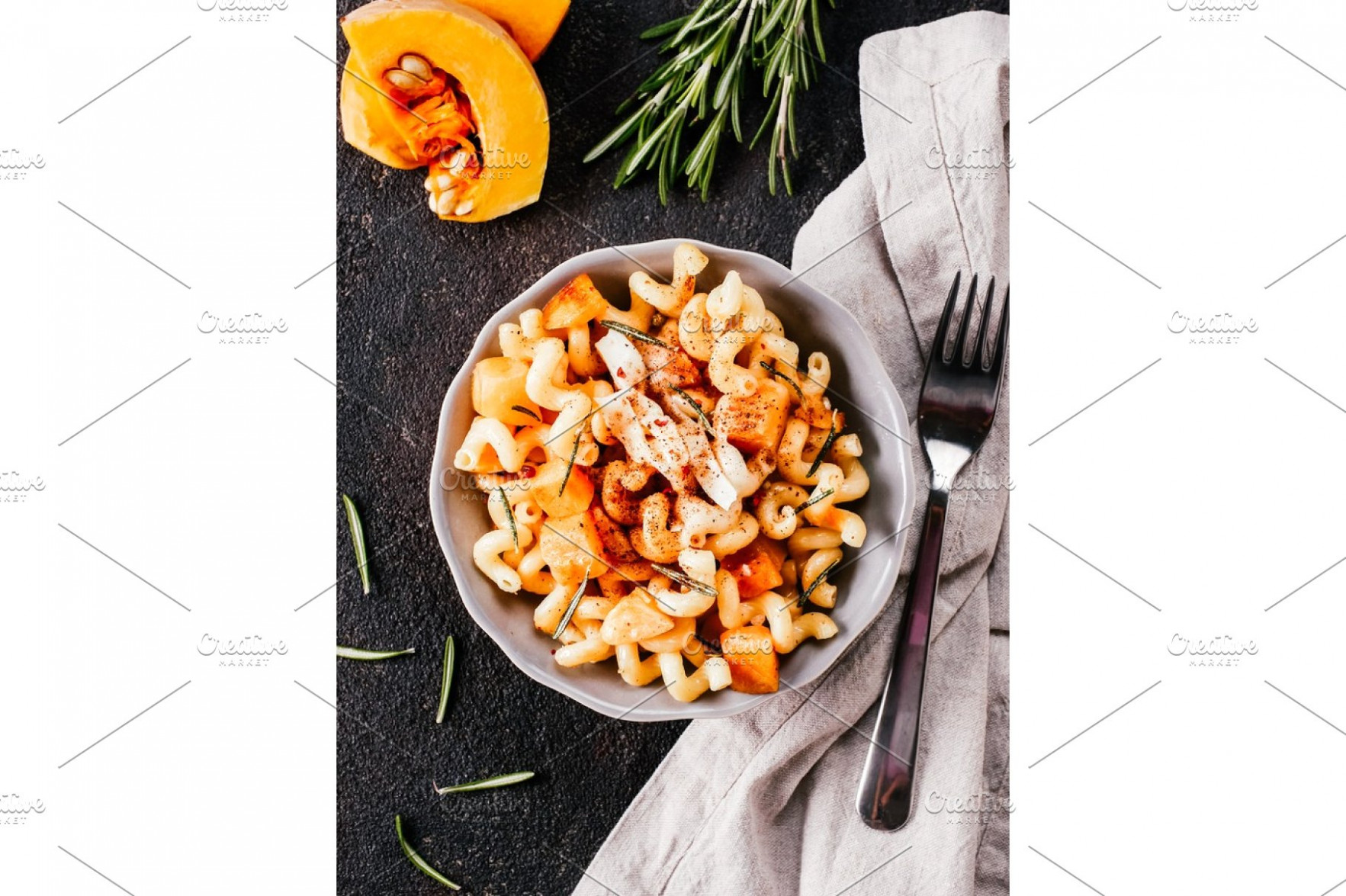 Fusilli pasta with pumpkin, rosemary and brie - fusilli pasta recipes vegetarian