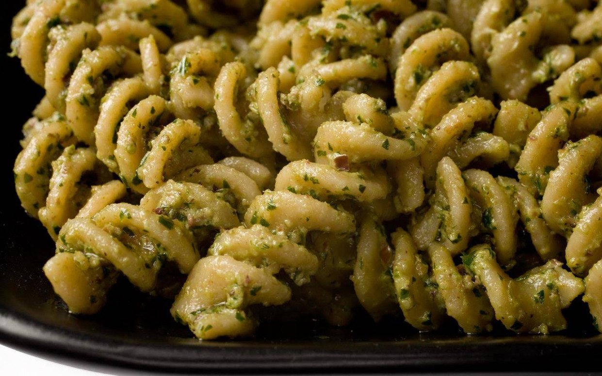 Fusilli with Parsley, Walnut, and Black Olive Pesto - fusilli pasta recipes vegetarian