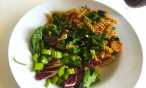 Fusilli With Spring Greens, Sun Dried Tomatoes And Veg Sausages – Fusilli Pasta Recipes Vegetarian