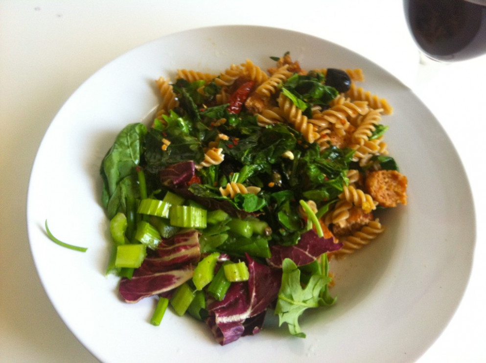 Fusilli with Spring Greens, Sun Dried Tomatoes and Veg Sausages - fusilli pasta recipes vegetarian