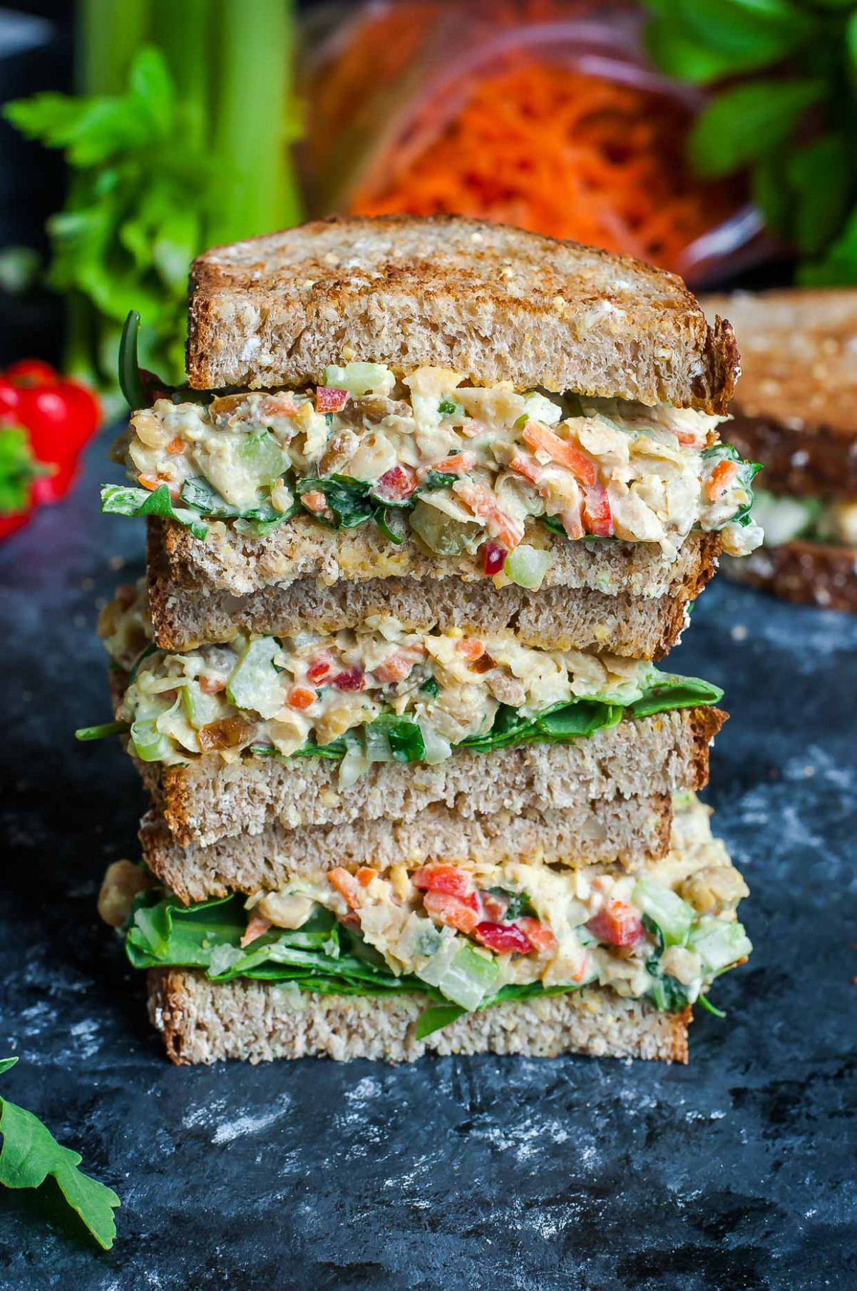 Garden Veggie Chickpea Salad Sandwich - healthy and vegetarian recipes