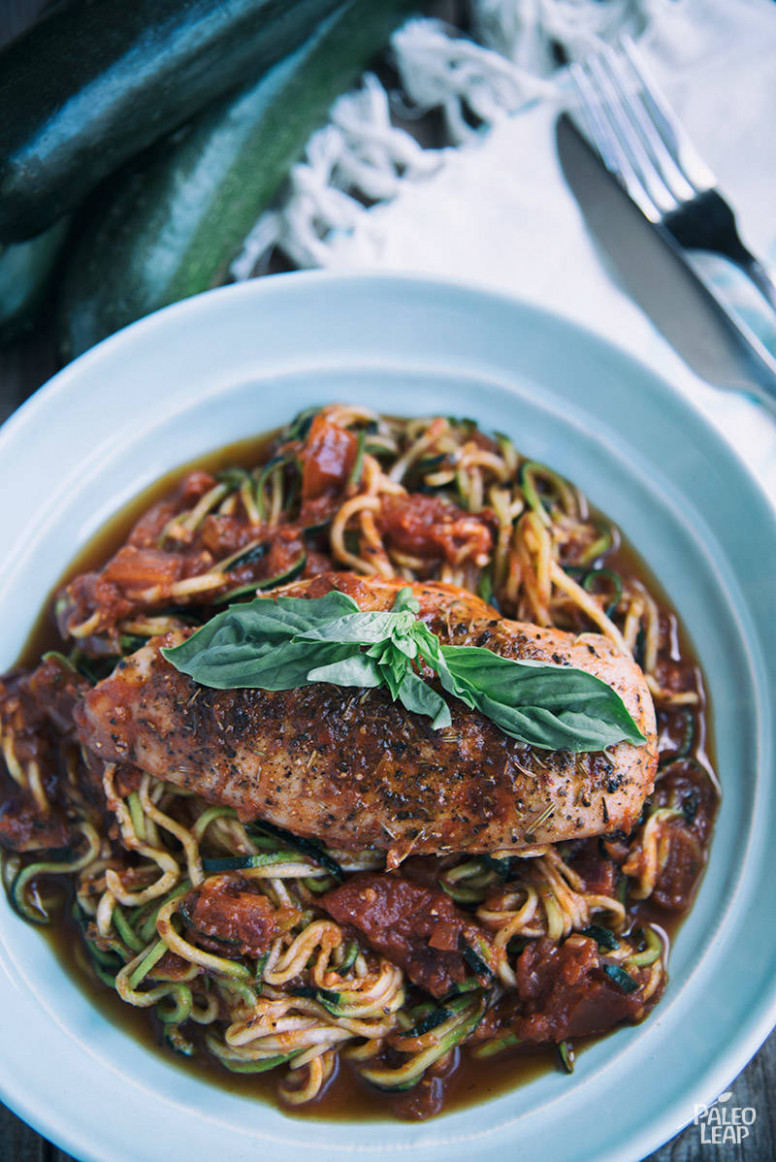 Garlic-Basil Chicken With Zoodles Recipe - chicken recipe zoodle