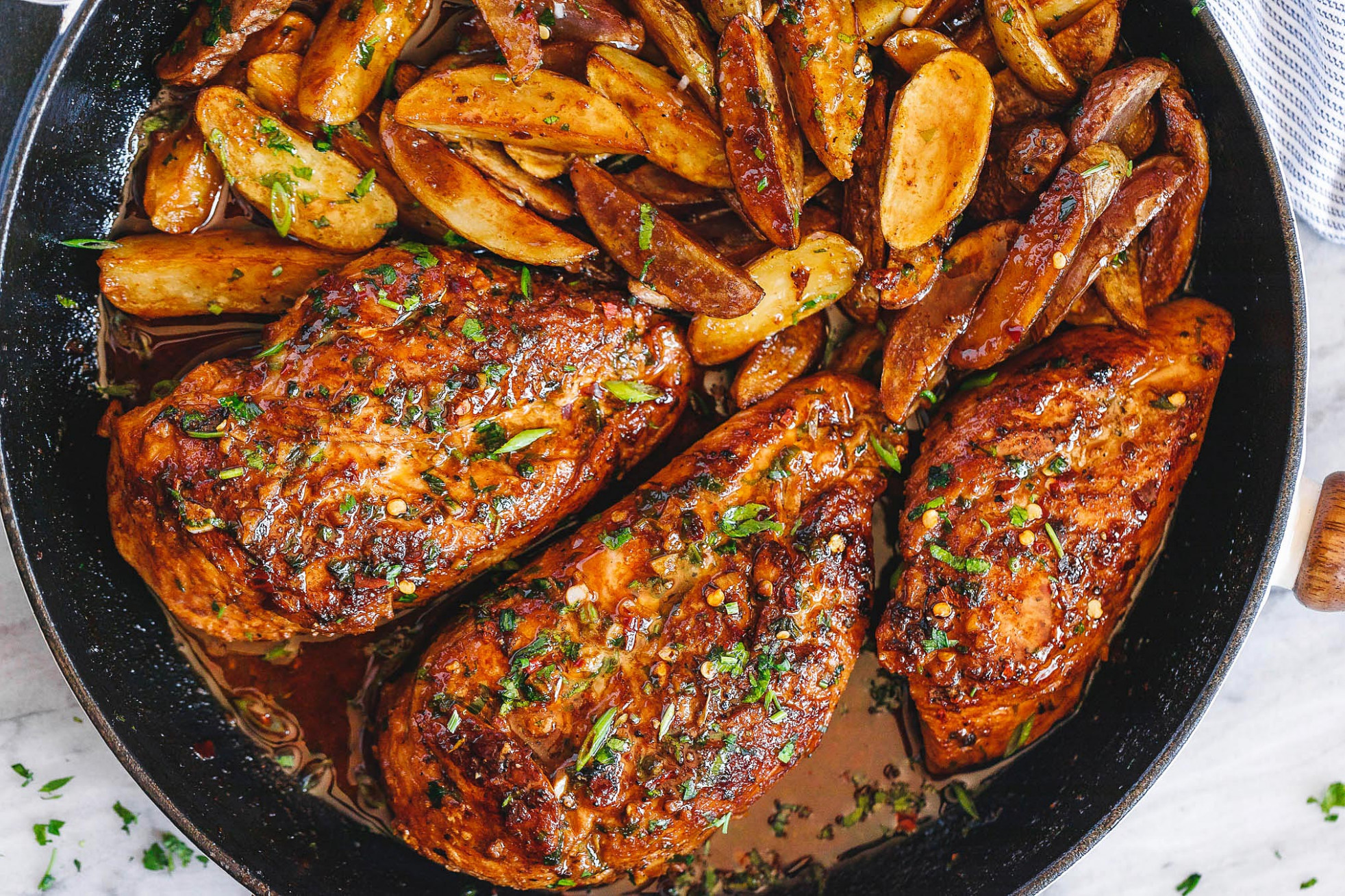Garlic Butter Chicken and Potato Skillet - skillet recipes chicken