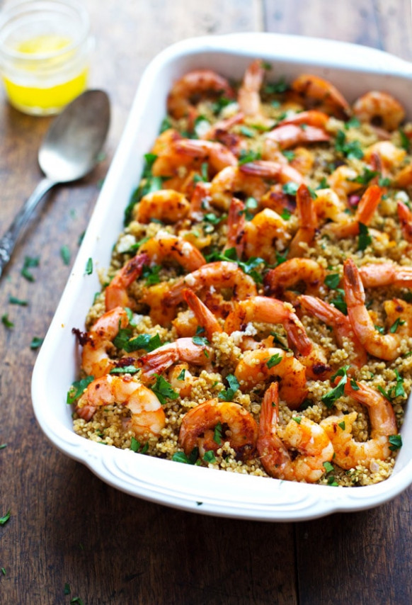 Garlic Butter Shrimp and Quinoa - Pinch of Yum - quinoa recipes dinner