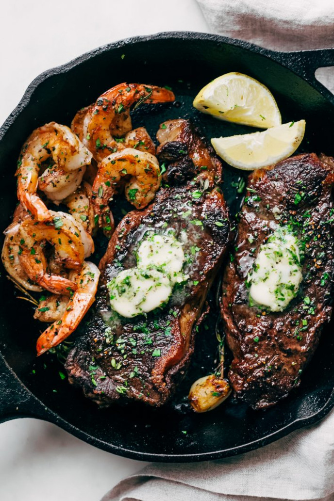 Garlic Butter Skillet Steak And Shrimp Recipe | Little ..