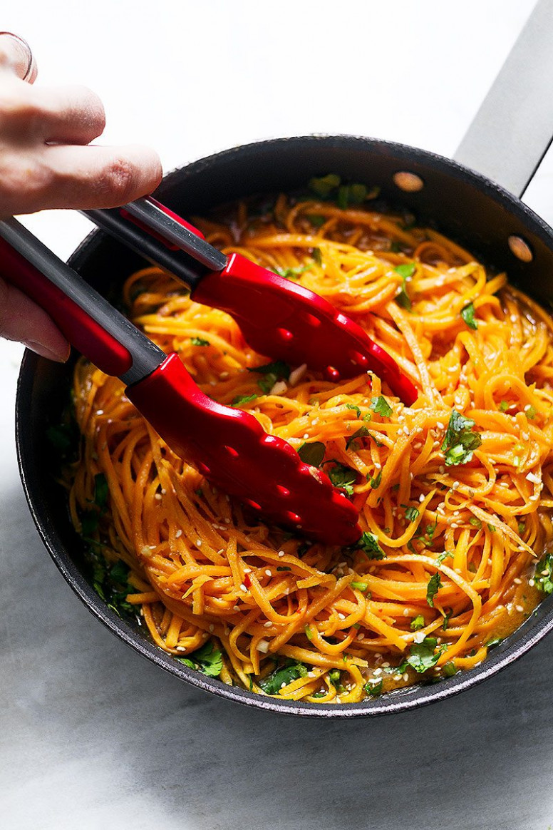 Garlic Butter Sweet Potato Noodles Recipe — Eatwell101 - recipes sweet potatoes healthy